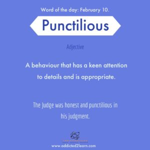 Punctilious: Keen attention to details and appropriate