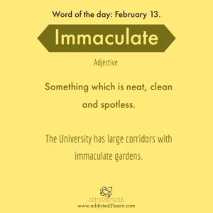 Immaculate: neat, clean and spotless.