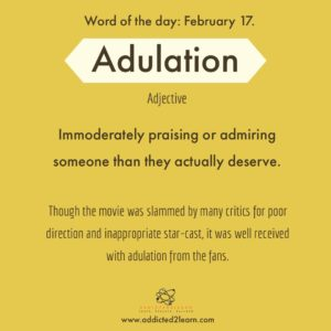 Adulation: Immoderate praise and admiration