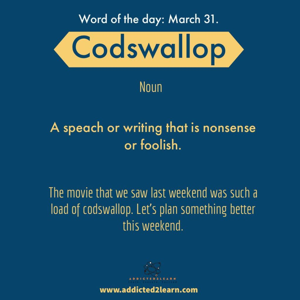 Codswallop: A speech or writing that is nonsense or foolish.