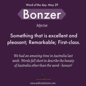 Word of the day Bonzer: Something that is excellent and pleasant; Remarkable; First-class.
