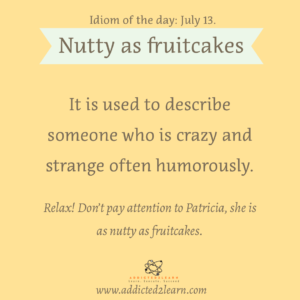 Idioms July Series:  Nutty as fruitcakes