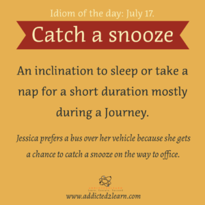 Idioms July Series:  Catch a snooze.