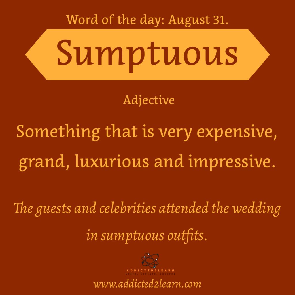 Vocabulary August series  sumptuous: Something that is very expensive, grand, luxurious and impressive.