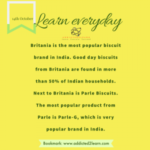 Interesting fact about Biscuits in India.