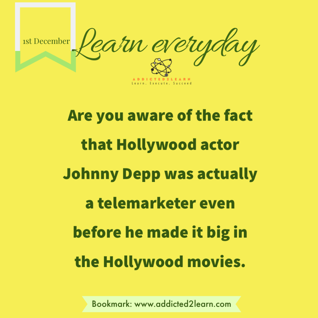 Interesting Facts December Series. Fact about Johnny Depp.