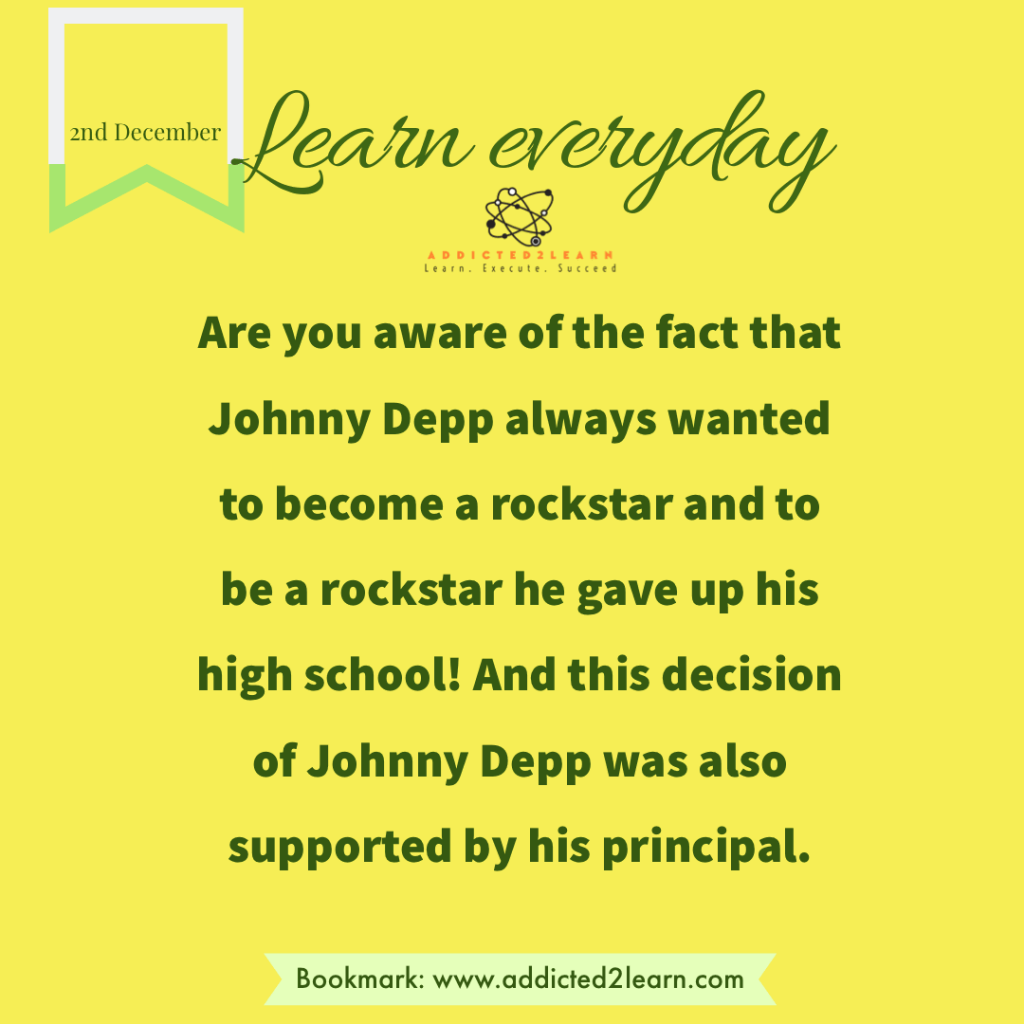 Interesting Facts December Series: Interesting Fact about Johnny Depp.