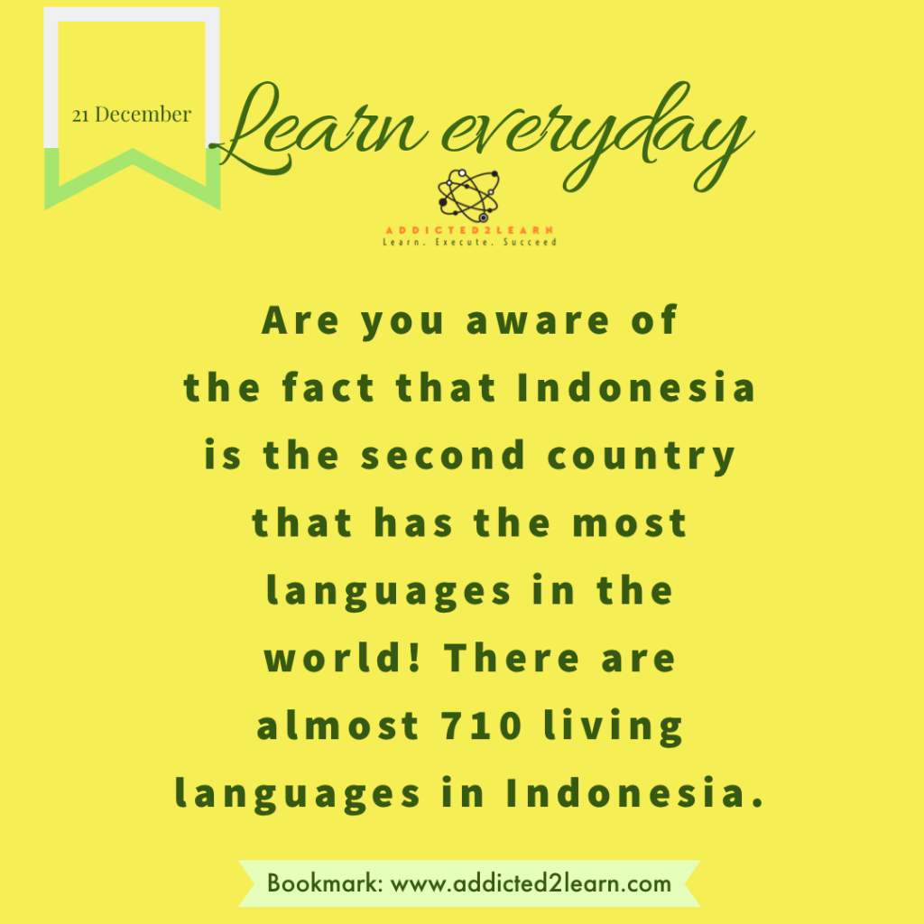 Interesting fact about the Indonesian languages