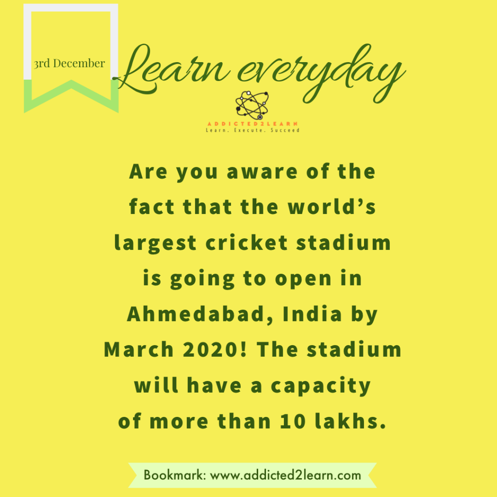 Interesting Fact about the World's largest cricket stadium.