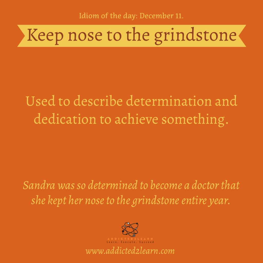 Idioms and Phrases December Series: Keep nose to the grindstone.