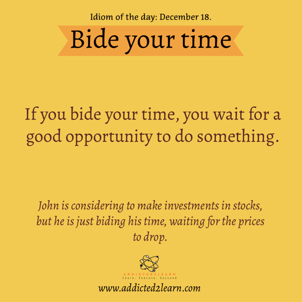 Idioms and Phrases December Series: Bide your time.