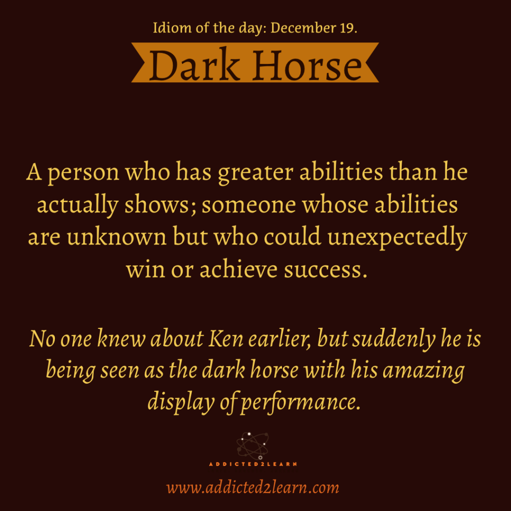 Idiom of the day: Dark Horse.