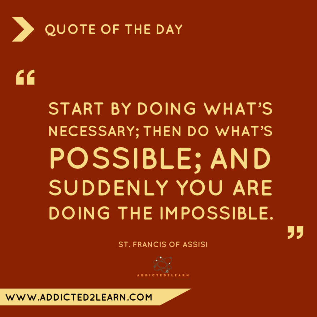 Quote of the day December Series: Quote by St. Francis of Assisi.