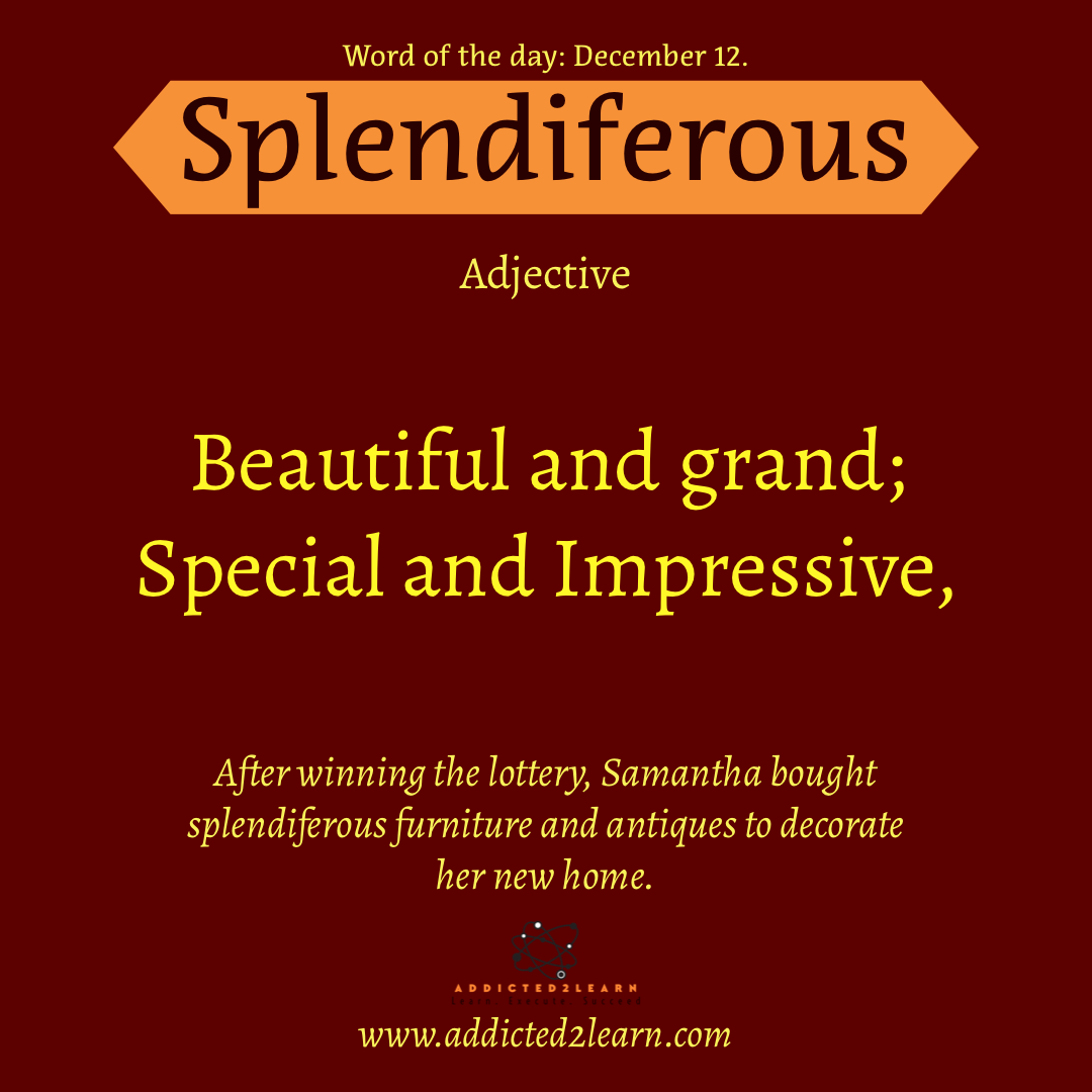 Word of the day December Series: Splendiferous: Beautiful and grand; Special and Impressive.