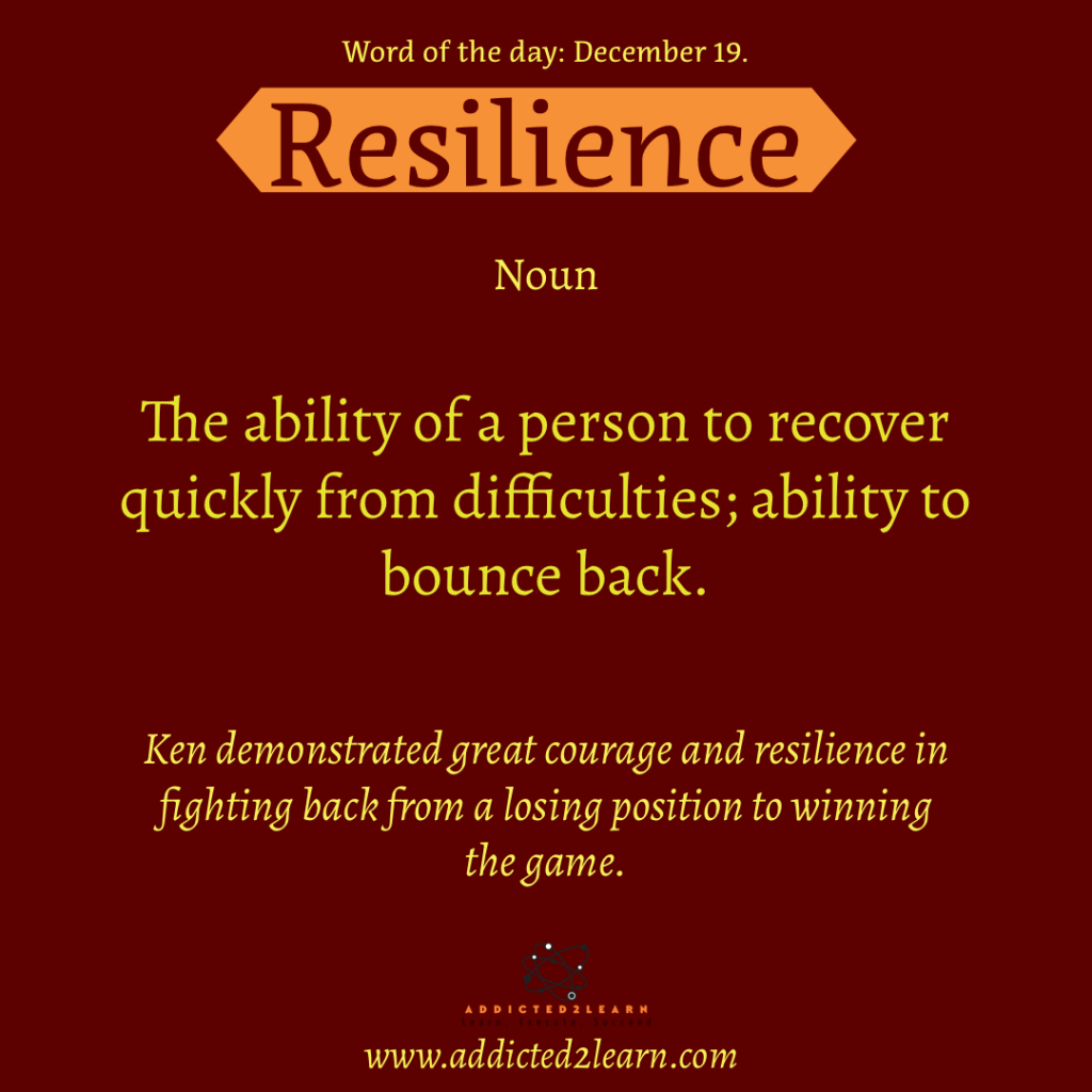 Word of the day: Resilience:  Ability of a person to recover quickly from difficulties; ability to bounce back.