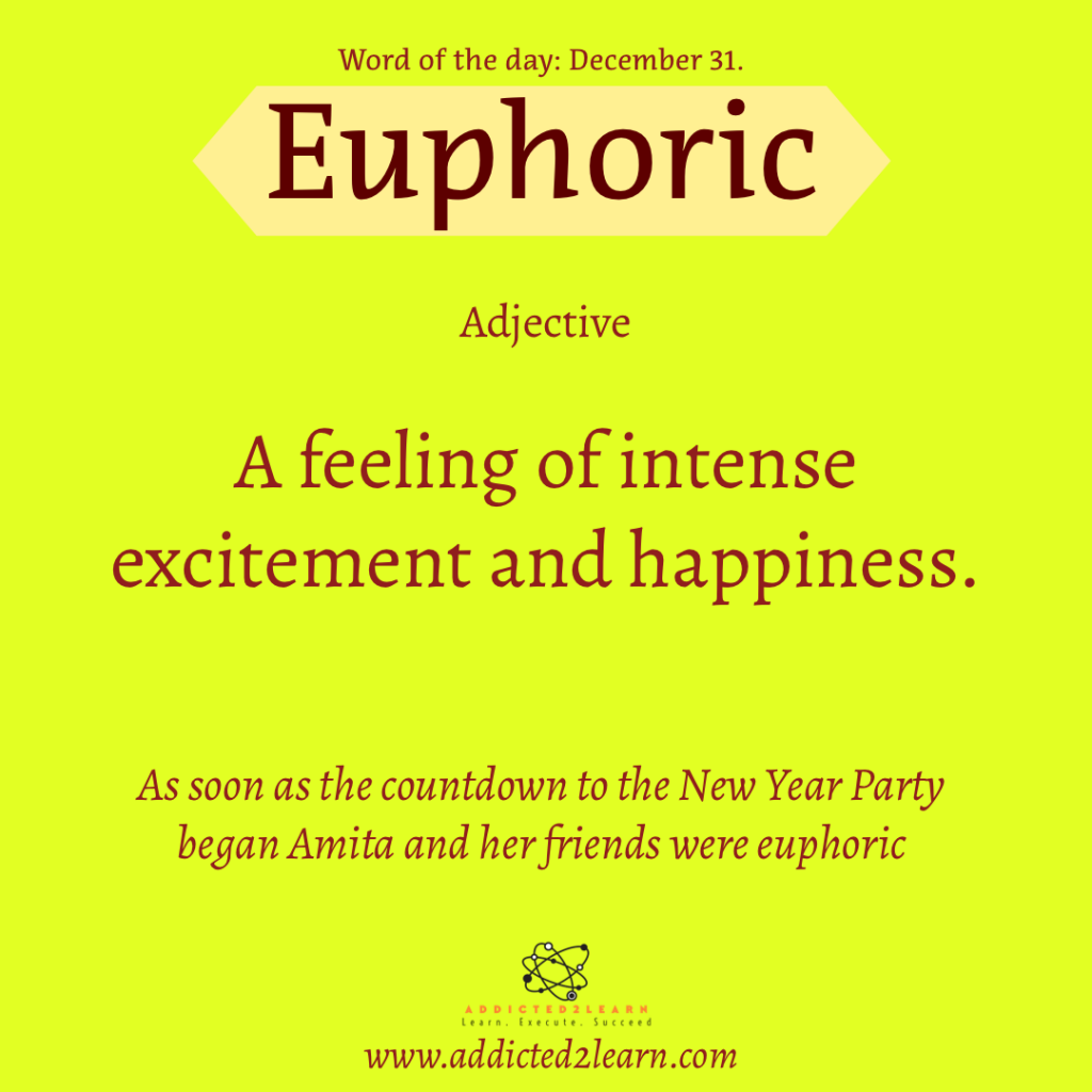 Word of the day  December Series:  Euphoric:  A feeling of intense excitement and happiness.