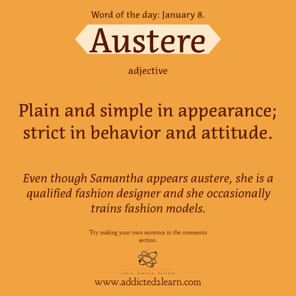 Word of the day January Series: Austere:  Plain and simple in appearance; strict in behavior and attitude.