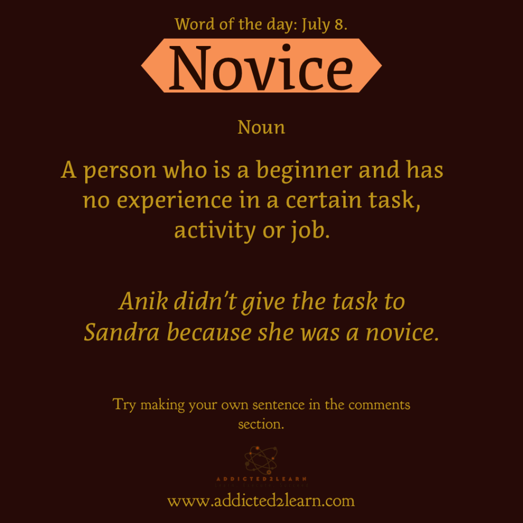 Word of the day July Series: July 8:  Novice  A person who is a beginner and has no experience in a certain task, activity, or job.